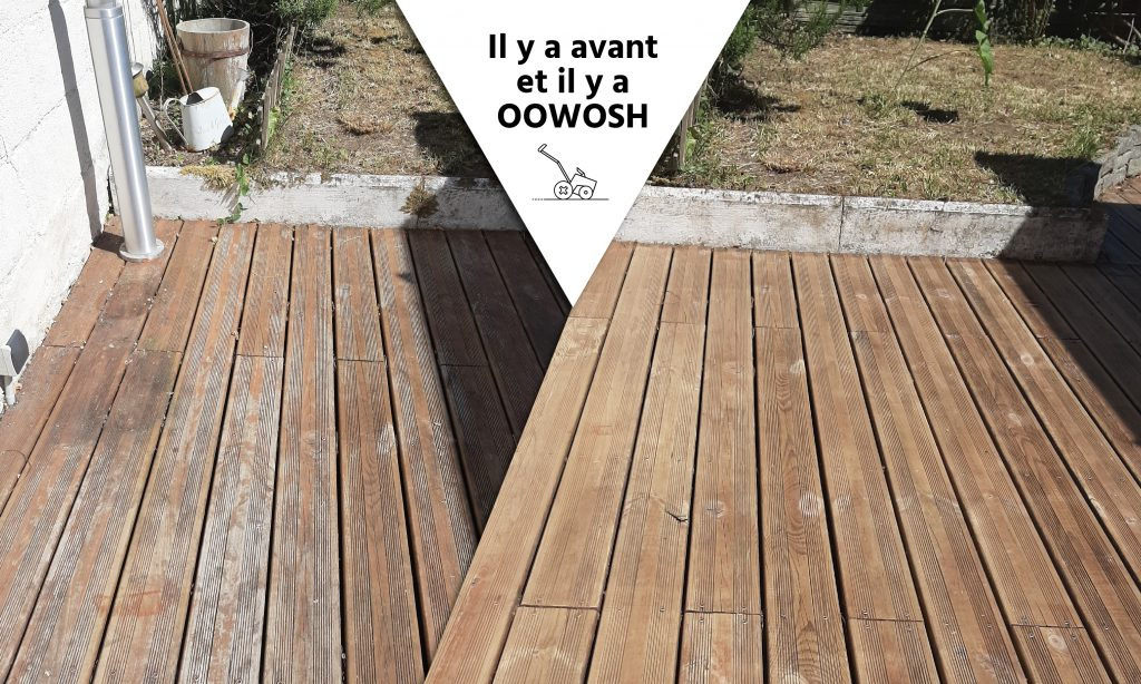 Terrasse en pin avec saturateur, grisaille et mousse.